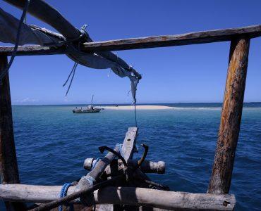 מבט על החוף באוקיינוס ההודי, צפון, מוזמביק, אפריקה